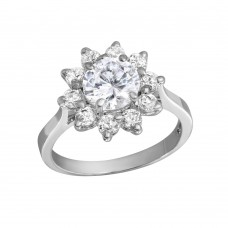 Wholesale Sterling Silver 925 Rhodium Plated CZ Flower Ring - GSR00004