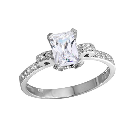 Wholesale Sterling Silver 925 Rhodium Plated Rectangle Center CZ Stone Ring - GSR00005
