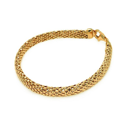 -Closeout Items- Wholesale Sterling Silver 925 Gold Plated Italian Snake Scale Bracelet - ITB00059GP
