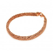 -Closeout Items- Wholesale Sterling Silver 925 Rose Gold Plated Italian Snake Scale Bracelet - ITB00059RGP