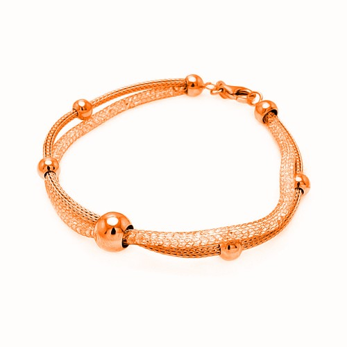 -Closeout Items- Wholesale Sterling Silver 925 Rose Gold Plated Italian Multiple Graduate Beads Bracelet - ITB00075RGP