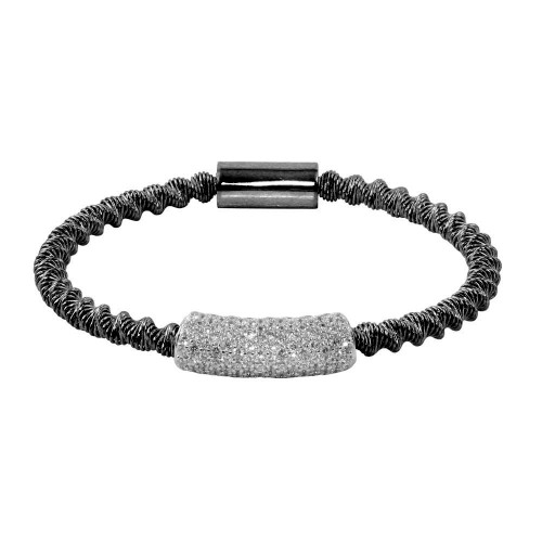 Wholesale Sterling Silver 925 Black Rhodium Plated Italian Bracelet with CZ - ITB00095BLK