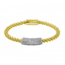 Wholesale Sterling Silver 925 Gold Plated Italian Bracelet with CZ - ITB00095GP