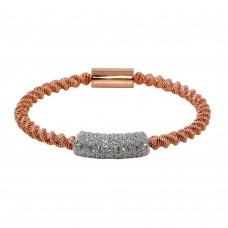 Wholesale Sterling Silver 925 Rose Gold Plated Italian Bracelet with CZ - ITB00095RGP