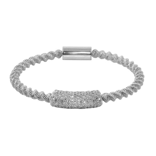 Wholesale Sterling Silver 925 Rhodium Plated Italian Bracelet with CZ - ITB00095RH