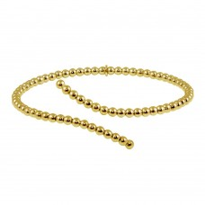 Wholesale Sterling Silver 925 Gold Plated Bead Cuff Bracelet - ITB00216GP