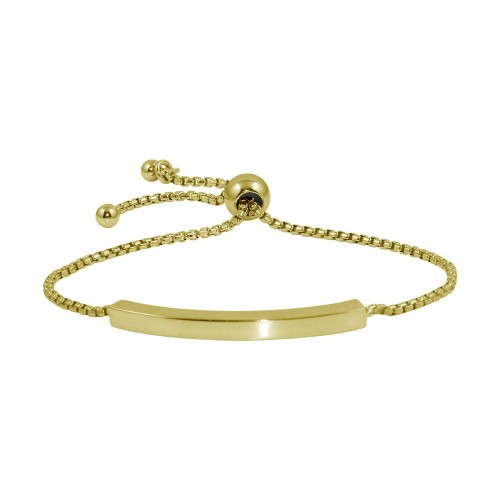 Wholesale Sterling Silver 925 Gold Plated Round Box Chain ID Bar Bracelet - ITB00219GP