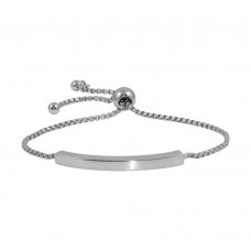 Wholesale Sterling Silver 925 Rhodium Plated Round Box Chain ID Bar Bracelet - ITB00219RH