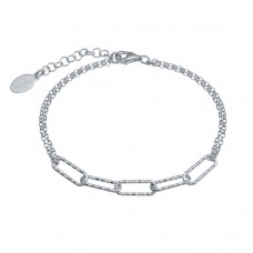 Wholesale Sterling Silver 925 Rhodium Plated Diamond Cut Link Chain Bracelet - ITB00312-RH