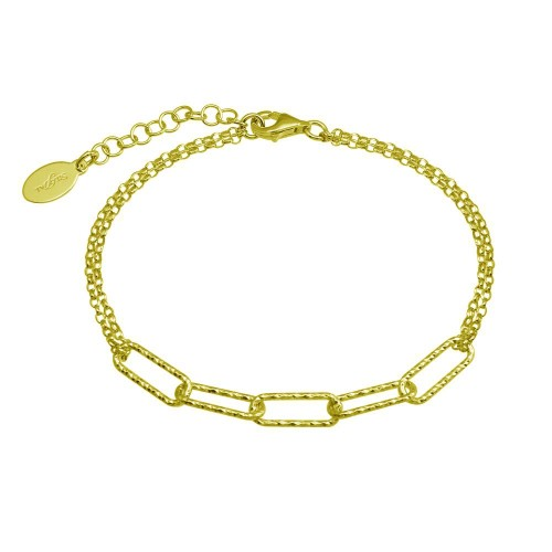 Wholesale Sterling Silver 925 Gold Plated Diamond Cut Link Chain Bracelet - ITB00312-GP