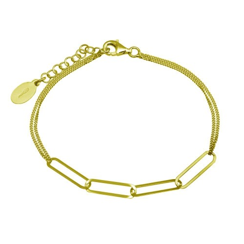 Wholesale Sterling Silver 925 Gold Plated Thin Curb Link Chain Bracelet - ITB00313-GP