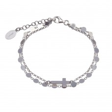 Wholesale Sterling Silver 925 Rhodium Plated Disc Cross Link Chain Bracelet - ITB00314-RH