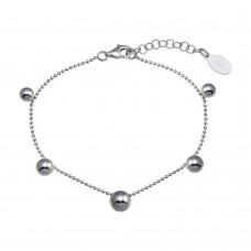 Wholesale Sterling Silver 925 Rhodium Plated 5 Bead Charm Bead Link Chain Bracelet - ITB00315-RH