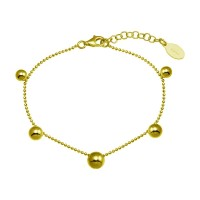 Wholesale Sterling Silver 925 Gold Plated 5 Bead Charm Bead Link Chain Bracelet - ITB00315-GP