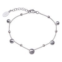 Wholesale Sterling Silver 925 Rhodium Plated 11 Bead Charm Bead Link Chain Bracelet - ITB00316-RH