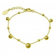 Wholesale Sterling Silver 925 Gold Plated 11 Bead Charm Bead Link Chain Bracelet - ITB00316-GP