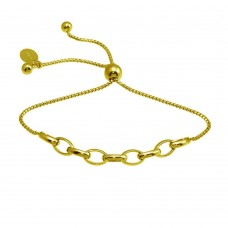 Wholesale Sterling Silver 925 Gold Plated Link Lariat Bracelet - ITB00318-GP