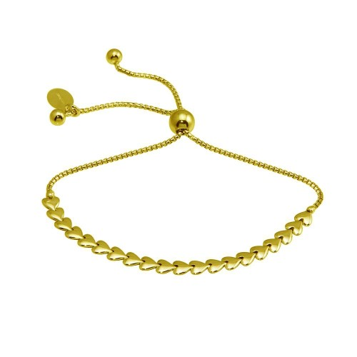 Wholesale Sterling Silver 925 Gold Plated Heart Link Lariat Bracelet - ITB00319-GP