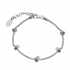 Wholesale Sterling Silver 925 Rhodium Plated 5 Knotted Coreana Chain Bracelet - ITB00320-RH