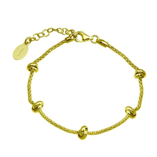 Wholesale Sterling Silver 925 Gold Plated 5 Knotted Coreana Chain Bracelet - ITB00320-GP