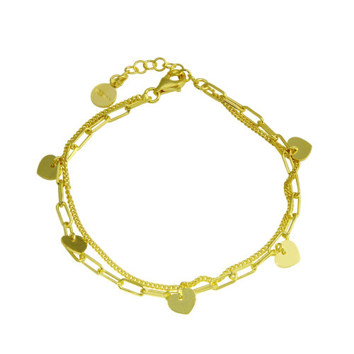 Wholesale Sterling Silver 925 Gold Plated 5 Hearts Chain Bracelet - ITB00321-GP