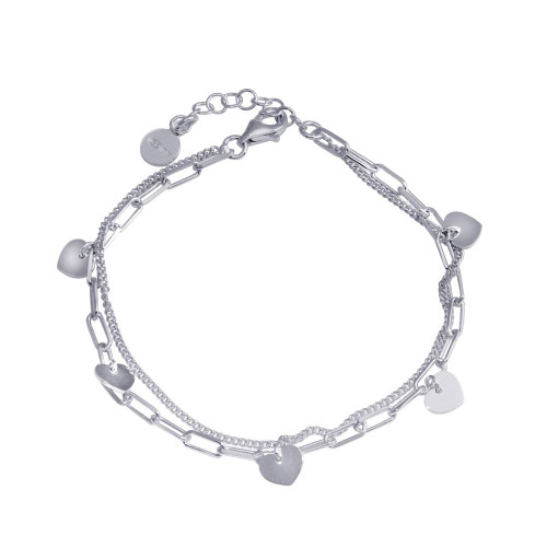 Wholesale Sterling Silver 925 Rhodium Plated 5 Hearts Chain Bracelet - ITB00321-RH
