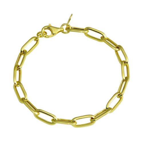 Wholesale Sterling Silver 925 Gold Plated Paperclip Chain Bracelet - ITB00322-GP