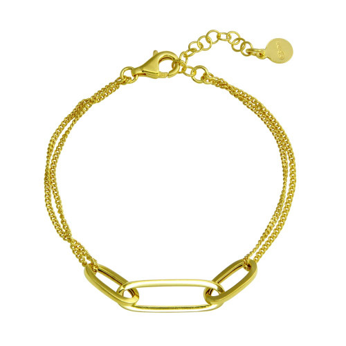 Wholesale Sterling Silver 925 Gold Plated Paperclip Design Chain Bracelet - ITB00323-GP