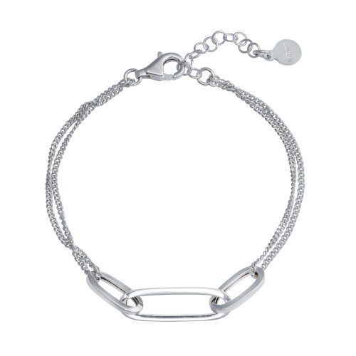 Wholesale Sterling Silver 925 Rhodium Plated Paperclip Design Chain Bracelet - ITB00323-RH