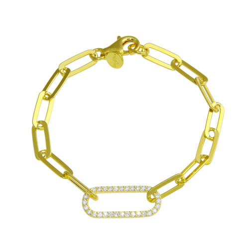 Wholesale Sterling Silver 925 Gold Plated Paperclip CZ Chain Bracelet - ITB00324-GP