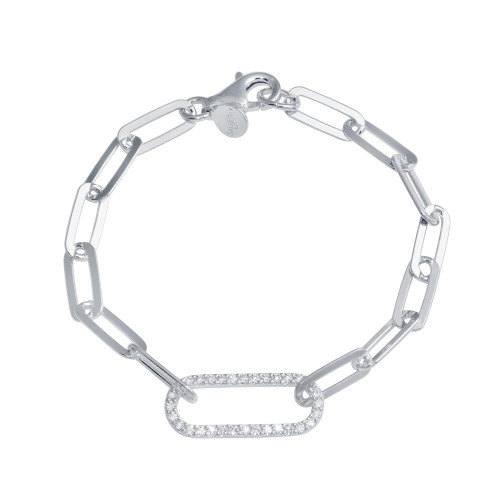Wholesale Sterling Silver 925 Rhodium Plated Paperclip CZ Chain Bracelet - ITB00324-RH