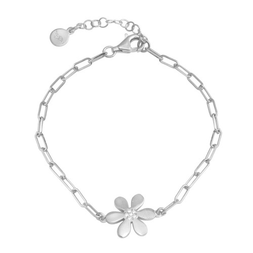 Wholesale Sterling Silver 925 Rhodium Plated Paperclip Flower CZ Chain Bracelet - ITB00325-RH