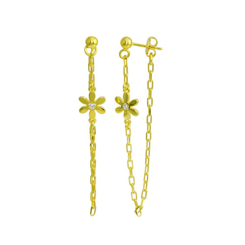 Wholesale Sterling Silver 925 Gold Plated Dangling Flower CZ Earrings - ITE00087-GP
