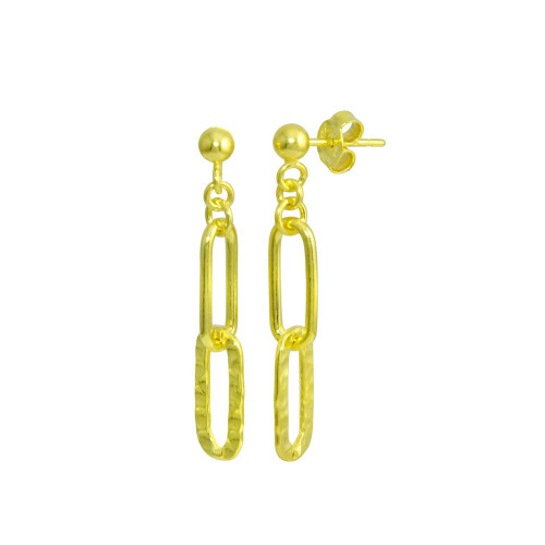 Wholesale Sterling Silver 925 Gold Plated Dangling Ball Textured Paperclip  Earrings - ITE00090-GP