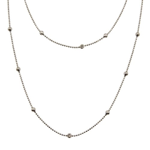 Wholesale Sterling Silver 925 Rhodium Plated Beaded Chain Necklace - ITN00056RH