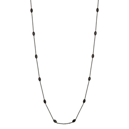 Wholesale Sterling Silver 925 Black Rhodium Plated Diamond Cut Oval Italian Necklace - ITN00092BLK
