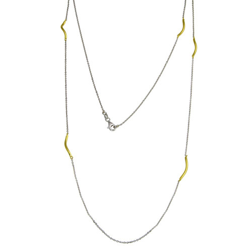 -Closeout Items- Wholesale Sterling Silver 925 Gold Plated Curved Bar Long Necklace - ITN00103RH/GP