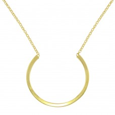 Wholesale Sterling Silver 925 Gold Plated Semi Circle Necklace - ITN00121GP