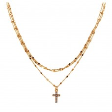 Wholesale Sterling Silver 925 Rose Gold Plated Triple Chain Cross Necklace with Beads and CZ - ITN00122RGP