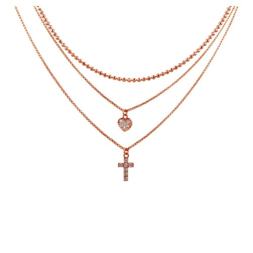 Wholesale Sterling Silver 925 Rose Gold Plated Triple Chain Heart and Cross Necklace with CZ - ITN00123RGP