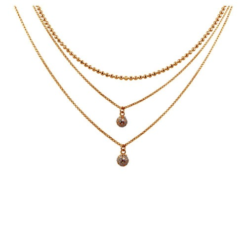 Wholesale Sterling Silver 925 Rose Gold Plated Triple Chain with 2 Small CZ Pendants - ITN00124RGP