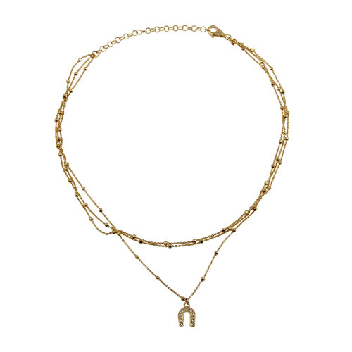 Wholesale Sterling Silver 925 Gold Plated Multi Chain DC Beaded Horse Shoe Charm Choker Necklace - ITN00126GP