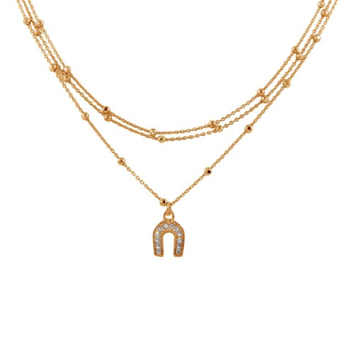 Wholesale Sterling Silver 925 Rose Gold Plated Multi Chain DC Beaded Horse Shoe Charm Choker Necklace - ITN00126RGP