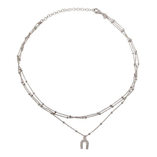 Wholesale Sterling Silver 925 Rhodium Plated Multi Chain DC Beaded Horse Shoe Charm Choker Necklace - ITN00126RH