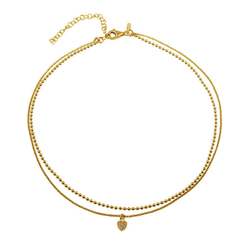Wholesale Sterling Silver 925 Gold Plated Double Chain and Drop Heart Necklace - ITN00127GP
