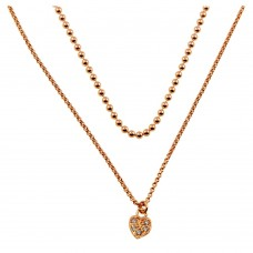 Wholesale Sterling Silver 925 Rose Gold Plated Double Chain and Drop Heart Necklace - ITN00127RGP