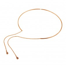 Wholesale Sterling Silver 925 Rose Gold Plated Cuff Wire Necklace with Asymmetrical Tear Drops - ITN00130RGP