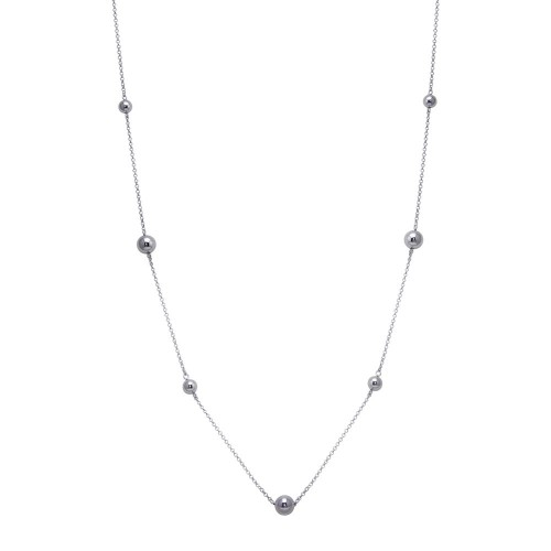 Wholesale Sterling Silver 925 Rhodium Plated Long Beaded Chain Necklace - ITN00132RH