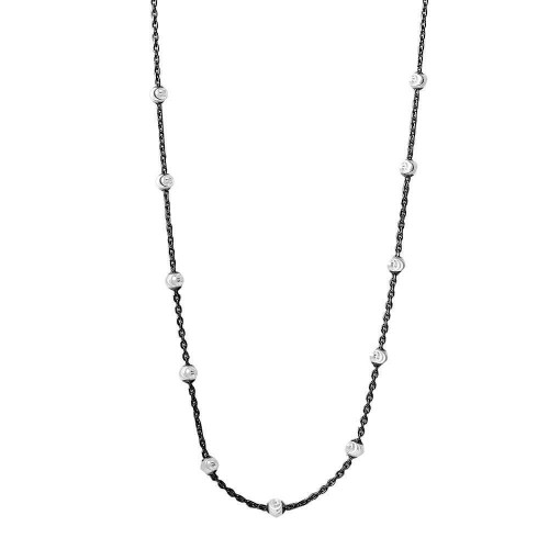 Wholesale Sterling Silver 925 Multi Diamond Cut Beads Two-Tone Black Rhodium Plated Italian Necklace - ITN00134BLK