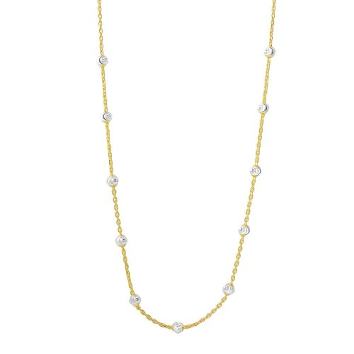 Wholesale Sterling Silver 925 Multi Diamond Cut Beads Two-Tone Gold Plated Italian Necklace - ITN00134GP